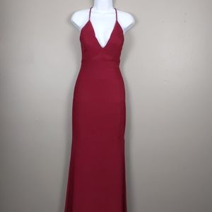 Emerald Sunday-Burgundy long formal dress w/lace